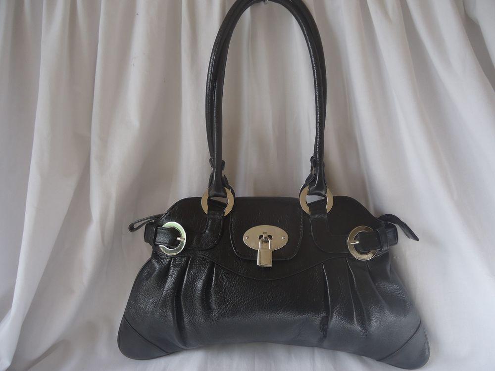 LLOYD BAKER LONDON BLACK LEATHER HANDBAG BAG TWO HANDLE TOTE 0625541db56a6
