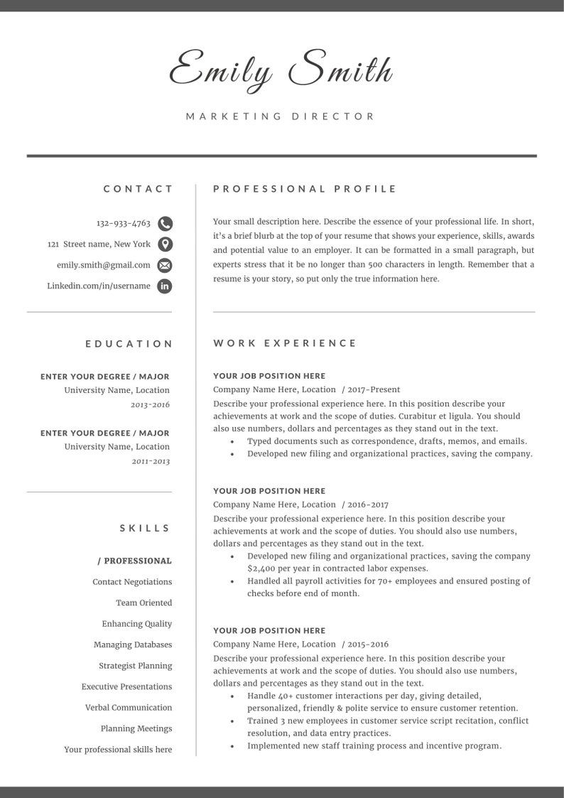 Professional resume / CV template instant download MS