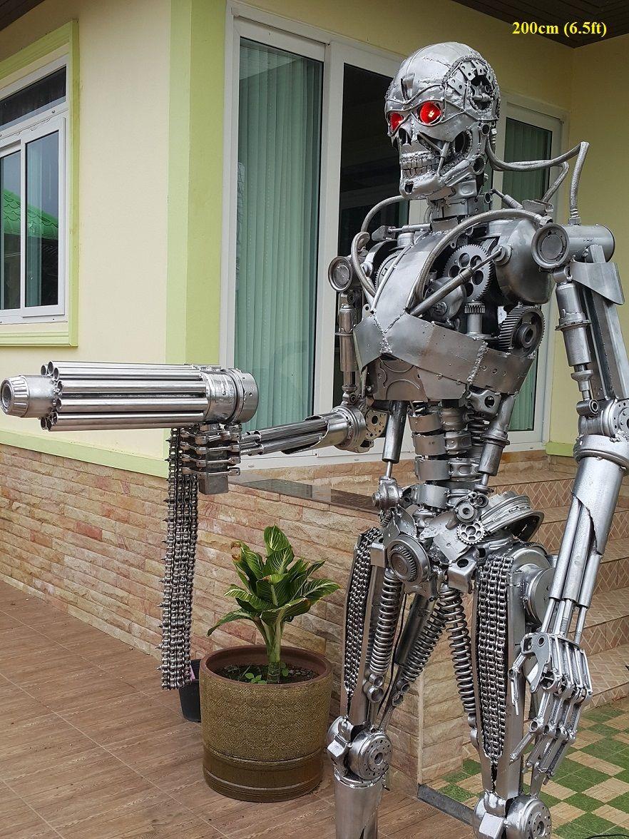 Latest Terminator Statue Sculpture Genisys Movie Style Life Size Scrap Metal Art For Sale Metal Art Projects Sheet Metal Art Metal Tree Wall Art