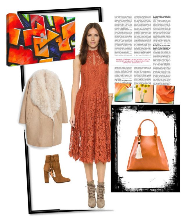 Orange lace by steffyyeah on Polyvore featuring polyvore, fashion, style, MANGO, Aquazzura, Free People and Oliveve