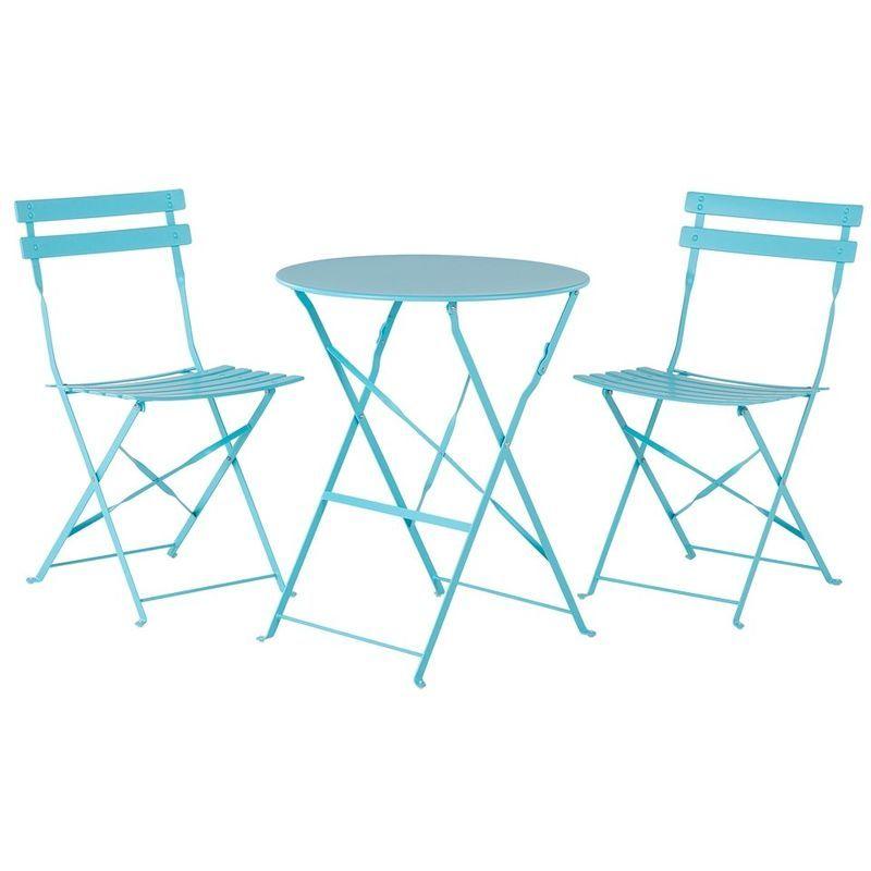 Ensemble table et 2 chaises de jardin en acier bleu FIORI ...