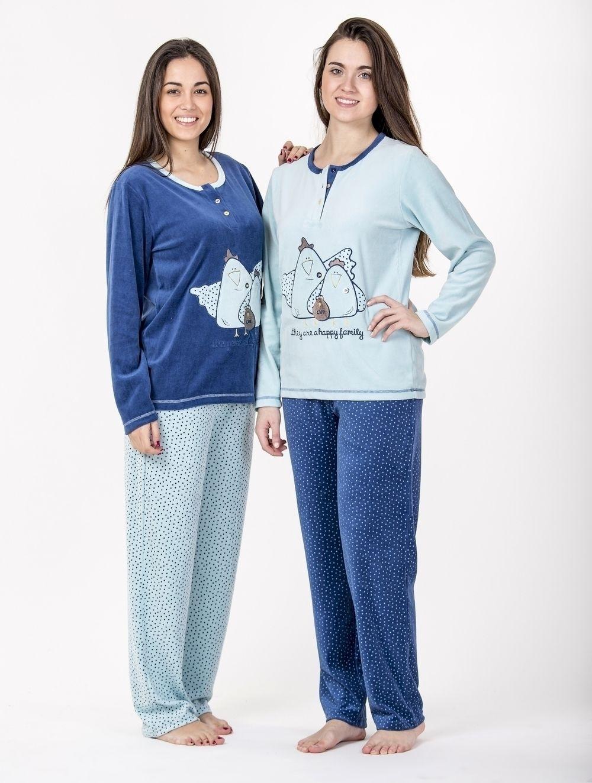 bda0f2358692a pijama invierno señora chica mujer azul gallina diseño topos ...