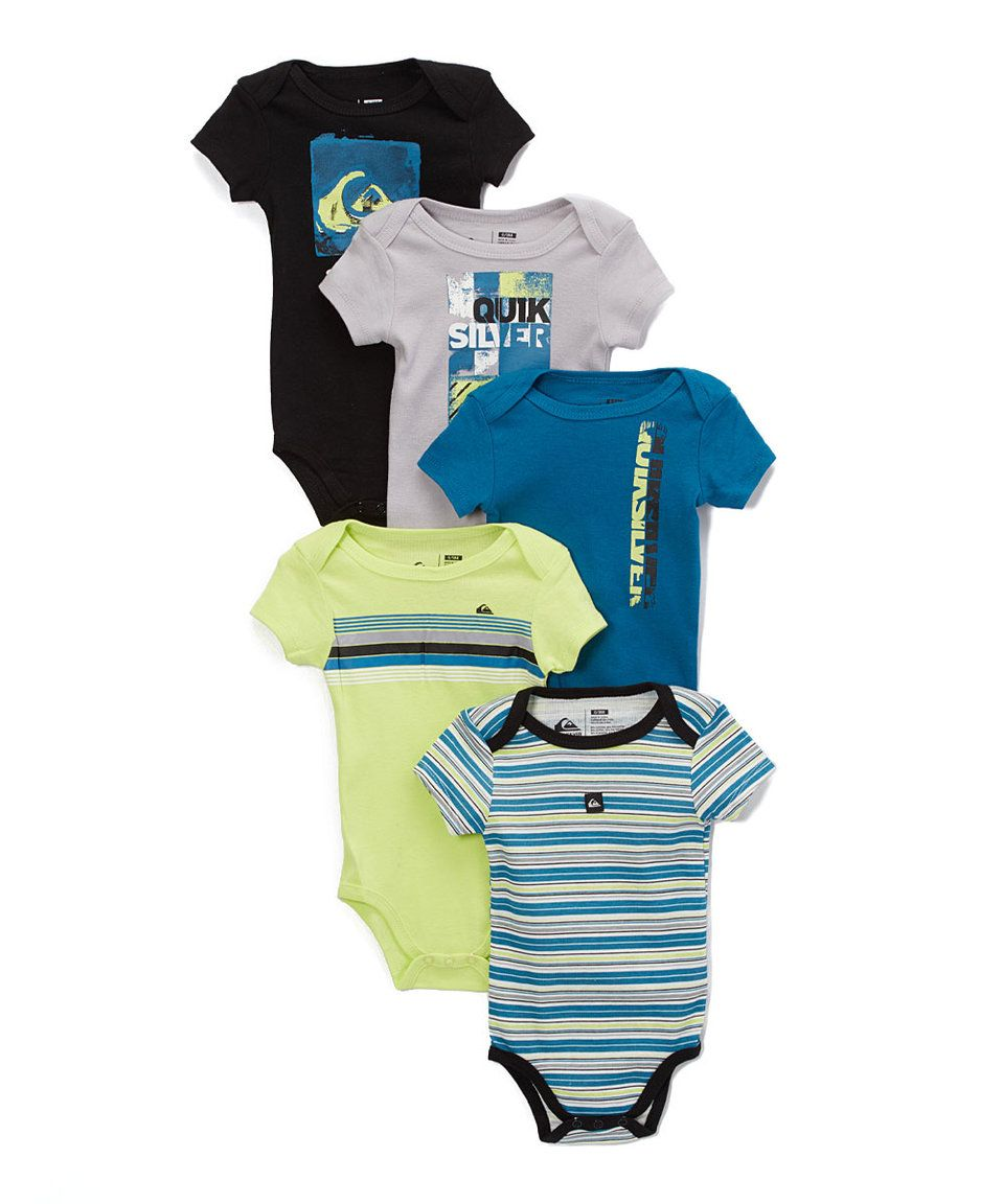 Take a look at this Quiksilver Blue & Black Bodysuit Set - Infant today!