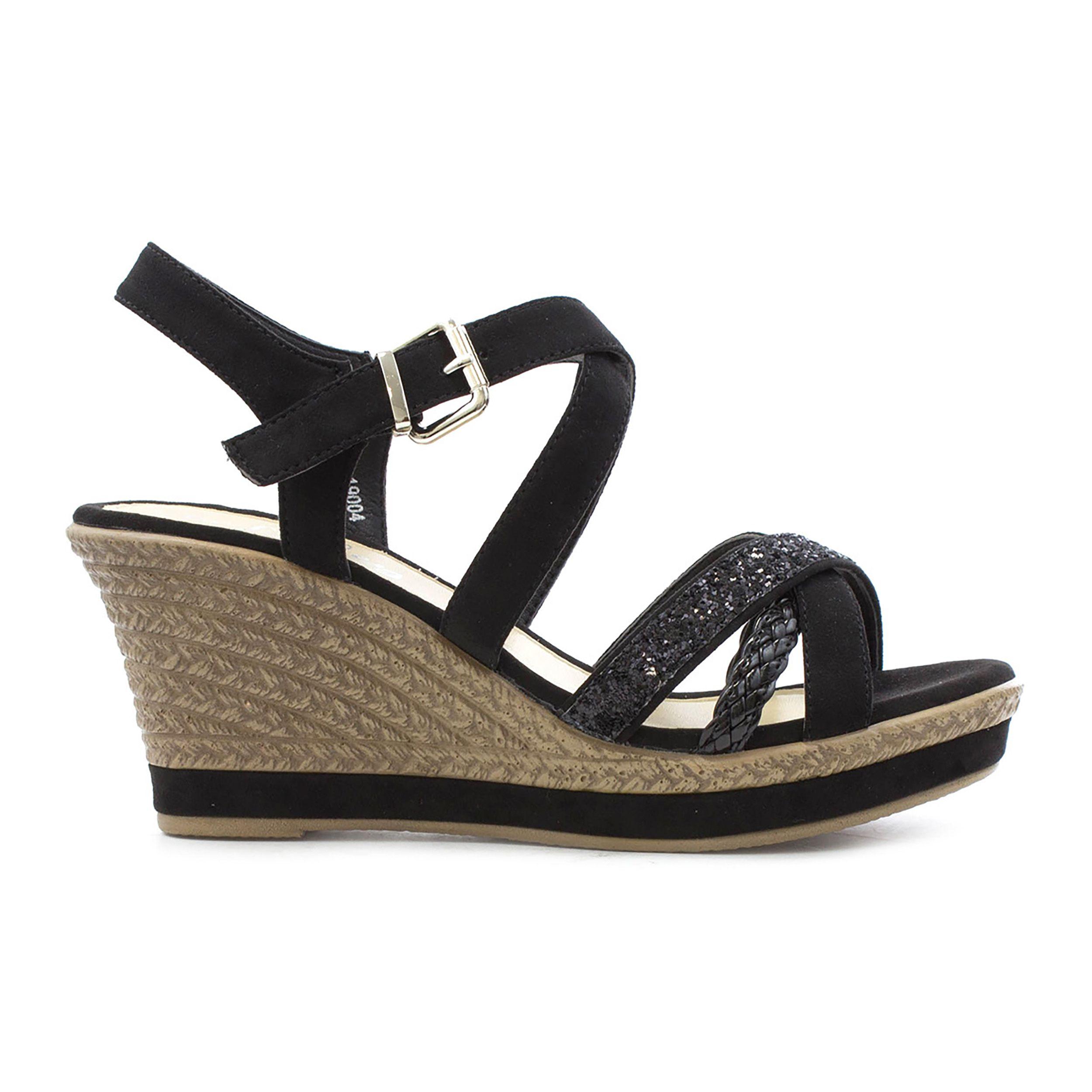 2eb72a01ba0 Cushion Walk Womens Black High Wedge Sandal   SHOE ZONE   SS18 ...
