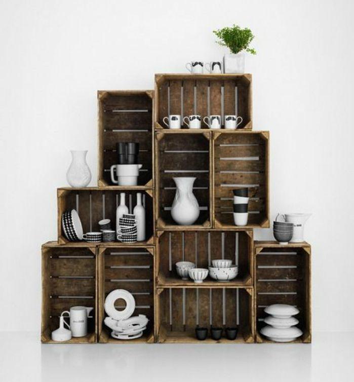 1001 id es et tutos pour fabriquer un meuble en cagette charmant cagette cagette bois et. Black Bedroom Furniture Sets. Home Design Ideas