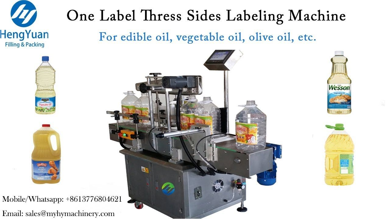 One Label Three Sides Labeling Machine, Edible Oil Bucket