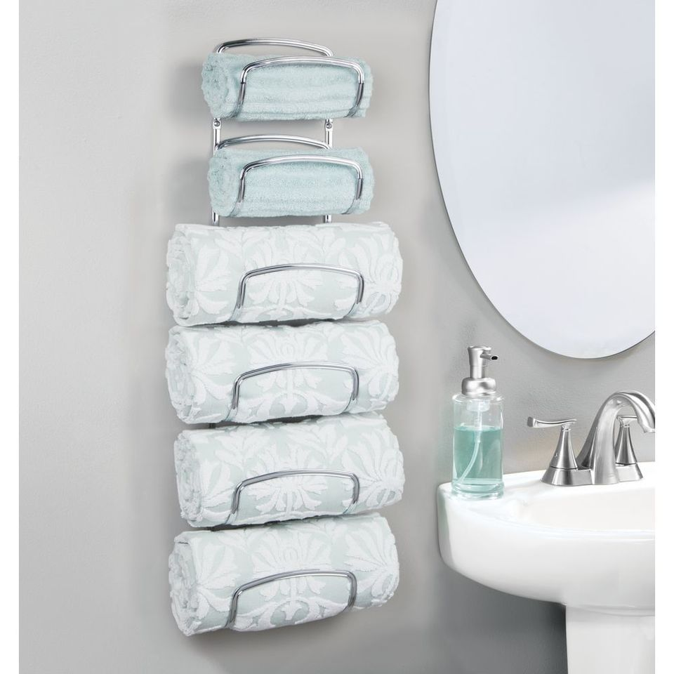 6 Tier Wall Mount Bathroom Towel Holder Storage Rack Towel Holder Bathroom Towel Storage Wall Towel Holders