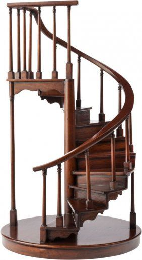A MAHOGANY ARCHITECTURAL SPIRAL STAIRCASE MODEL, Dollhouse Interiors,  Dollhouse Miniatures, Spiral Staircases,