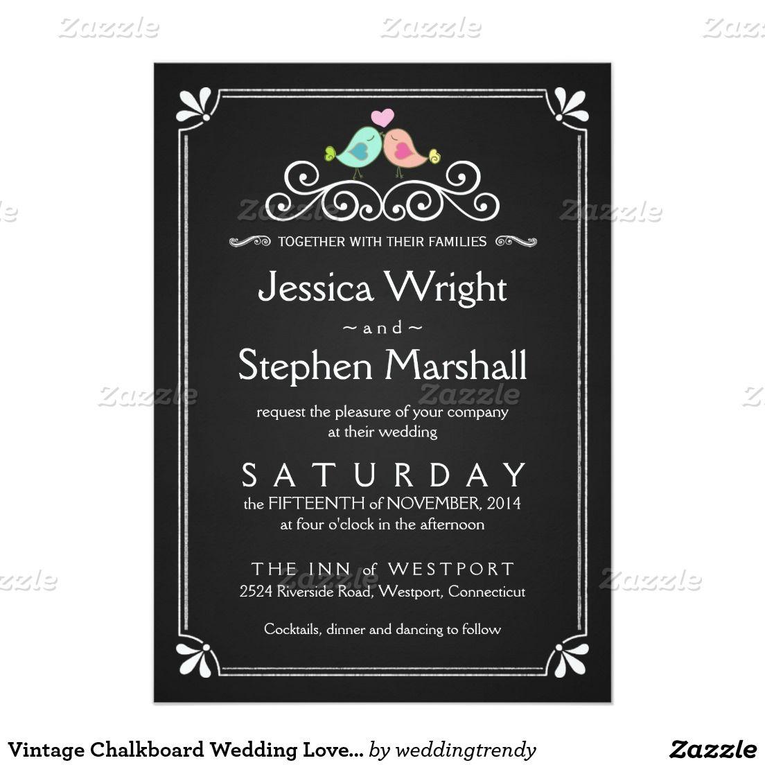 Vintage Chalkboard Wedding Love Birds Invite Zazzle Com Chalkboard Wedding Invitations Letterpress Wedding Invitations Chalkboard Wedding