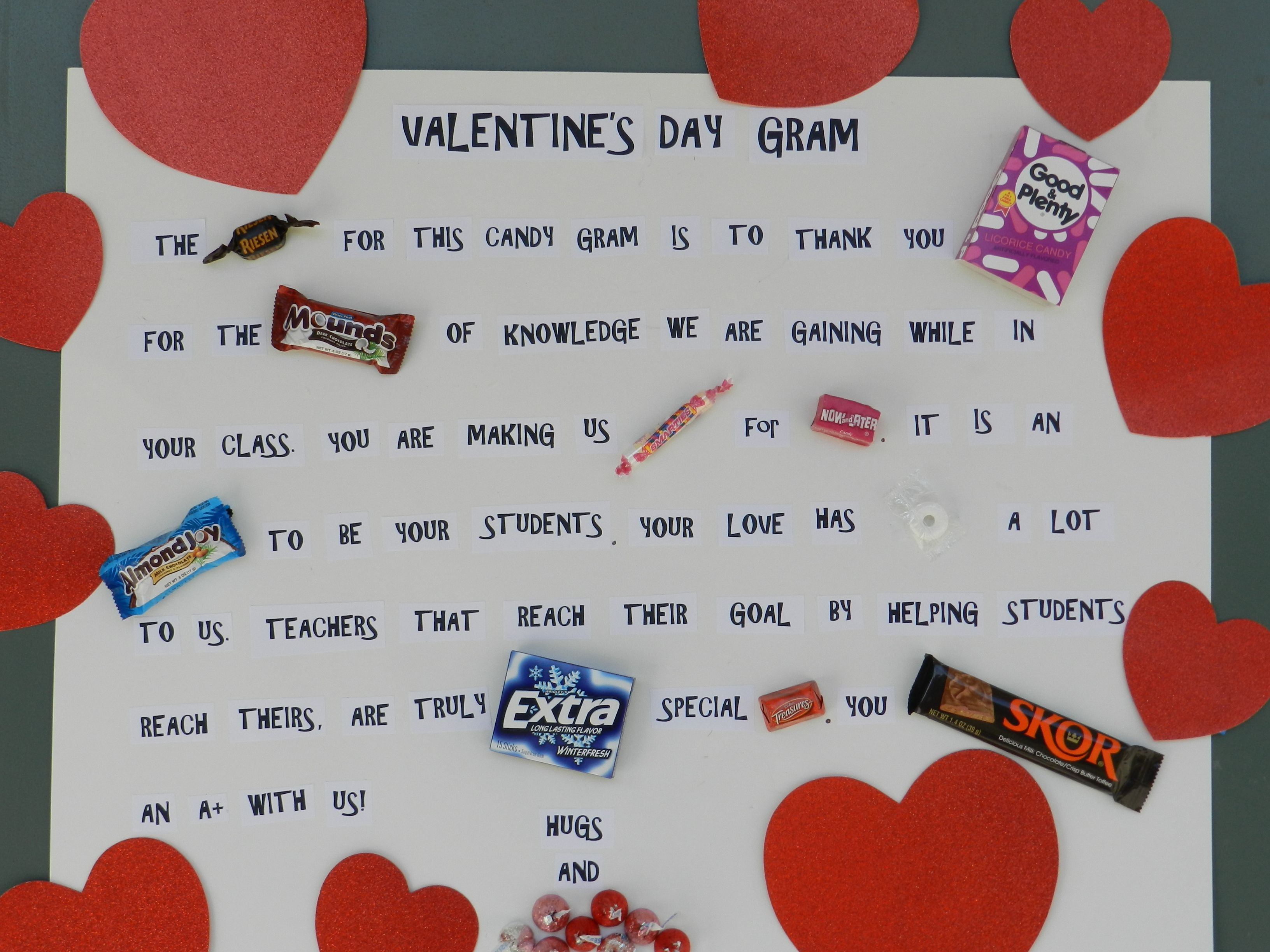 Cute poem to put on a teachers door for valentines day
