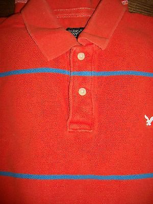 71b9e3752 American Eagle Men s Size M Long Sleeve Polo Shirt 100% Cotton Orange  Striped