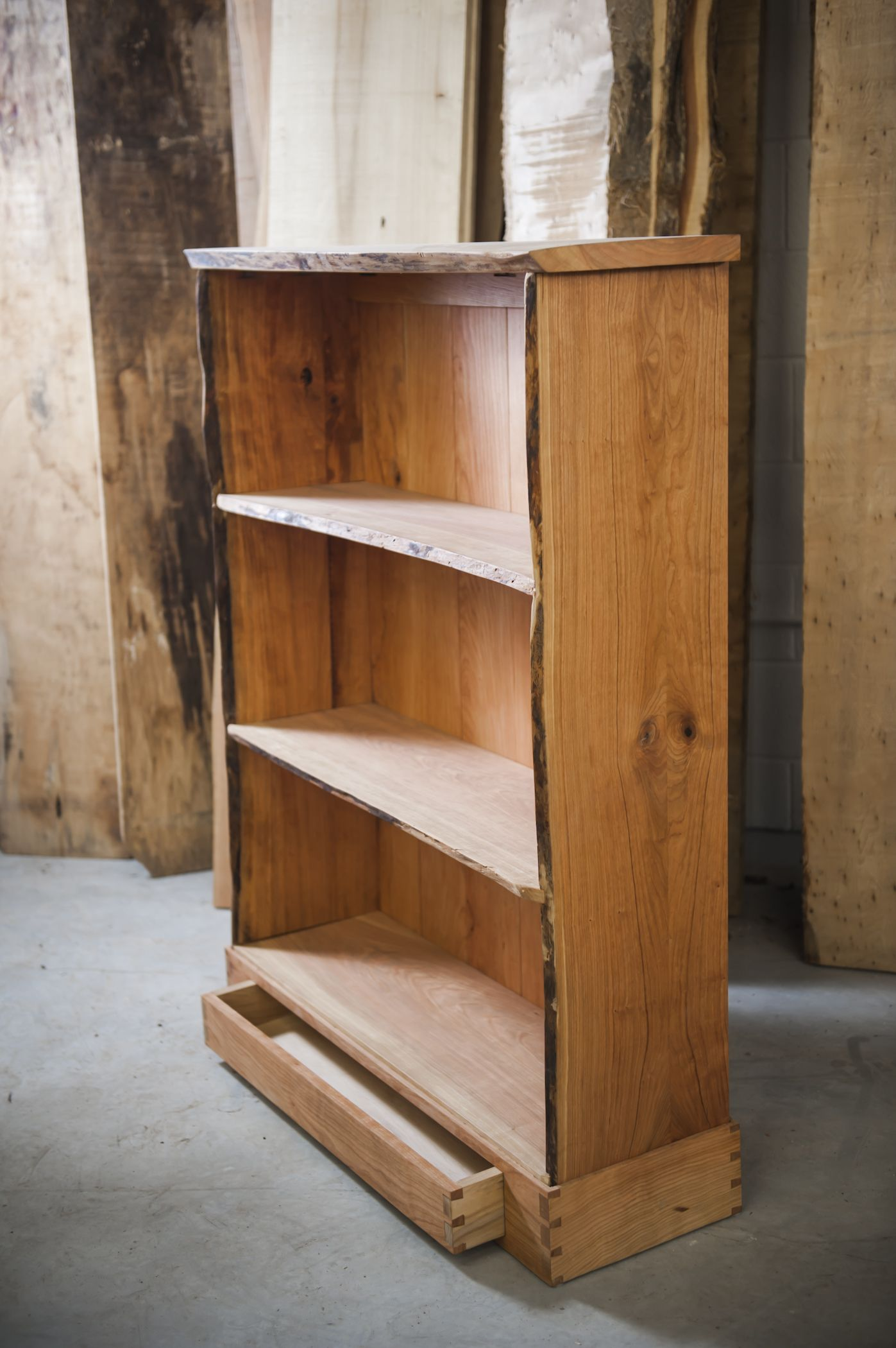 """Cherry """"live edge"""" bookcase Woodworking projects diy"""