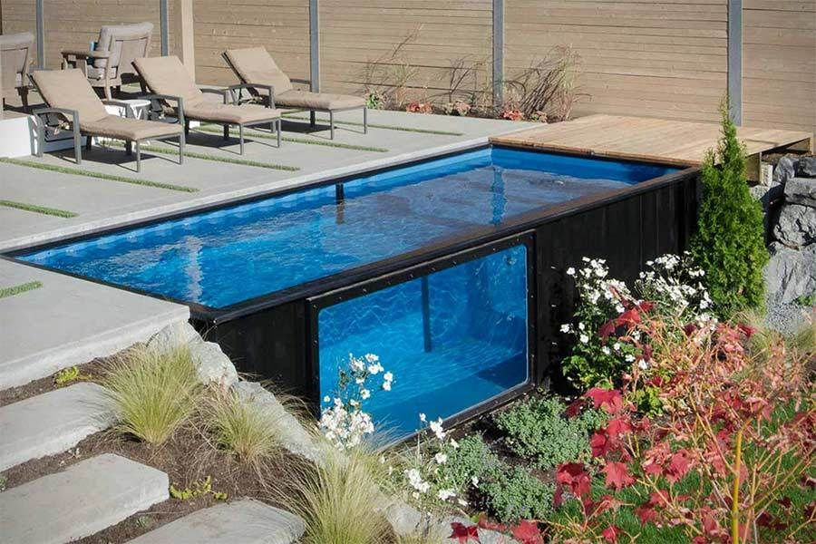 Swimmingpool aus Schiffscontainer - Cooles Design trifft smarte ...