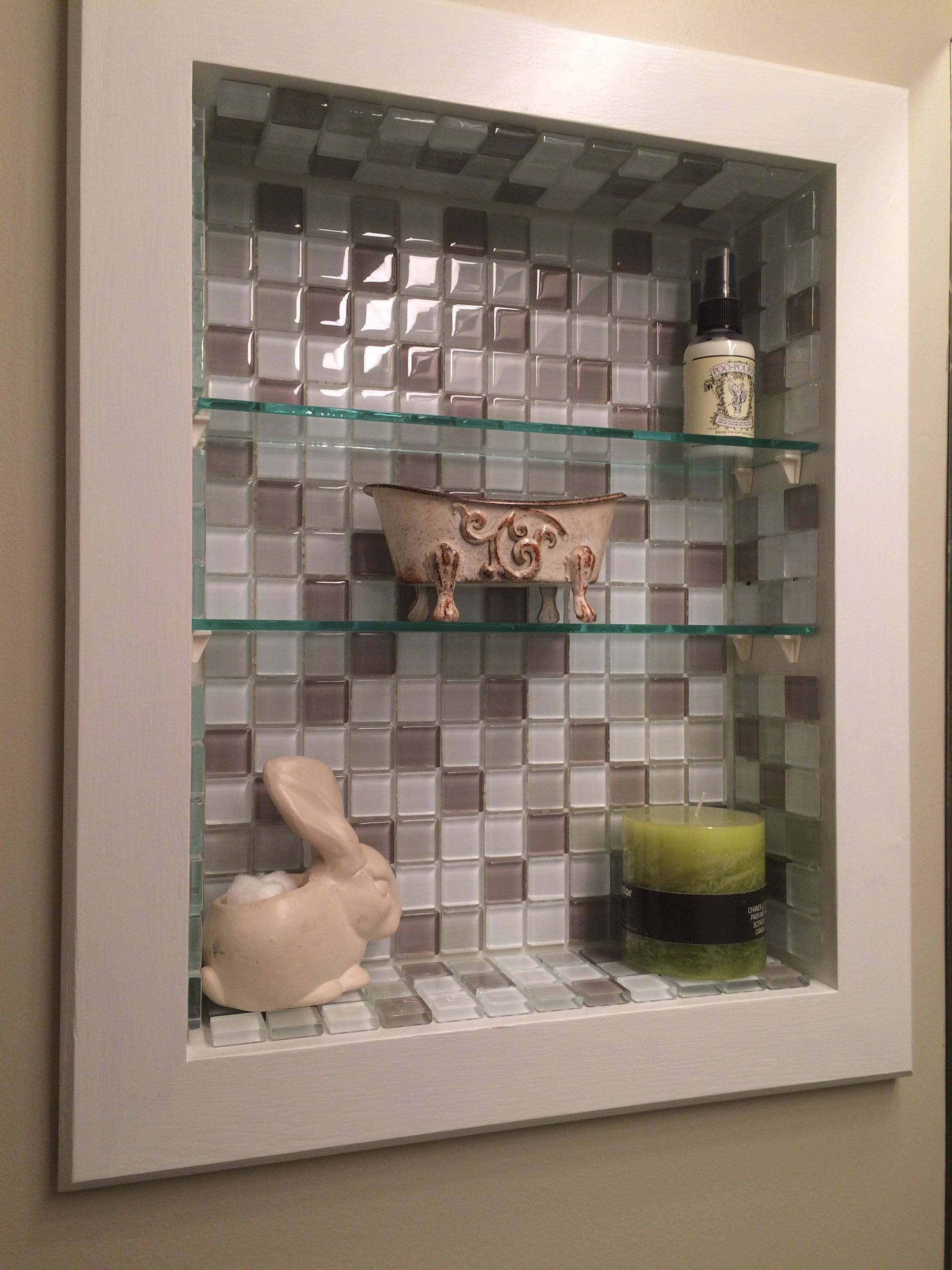 Medicine Cabinet Makeover Removed Door Painted Frame And Installed Tile Much Bette Bathroom Cabinets Diy Medicine Cabinet Makeover Bathroom Mirror Makeover