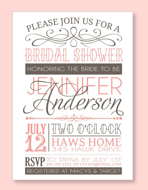 Bridal Shower Party PRINTABLE PDF Invitation from Love The Day ...