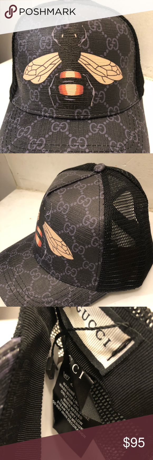 Black bee design Gucci hat Trucker style  0d315e37501