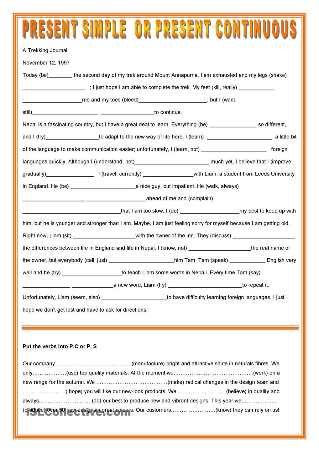 Writing future tense of verb worksheet turtle diary - Present Simple Or Continuous Present Simple Vs Continuous Progressive Tense Fun Activities Games Elementary Pre Intermediate Elementary School