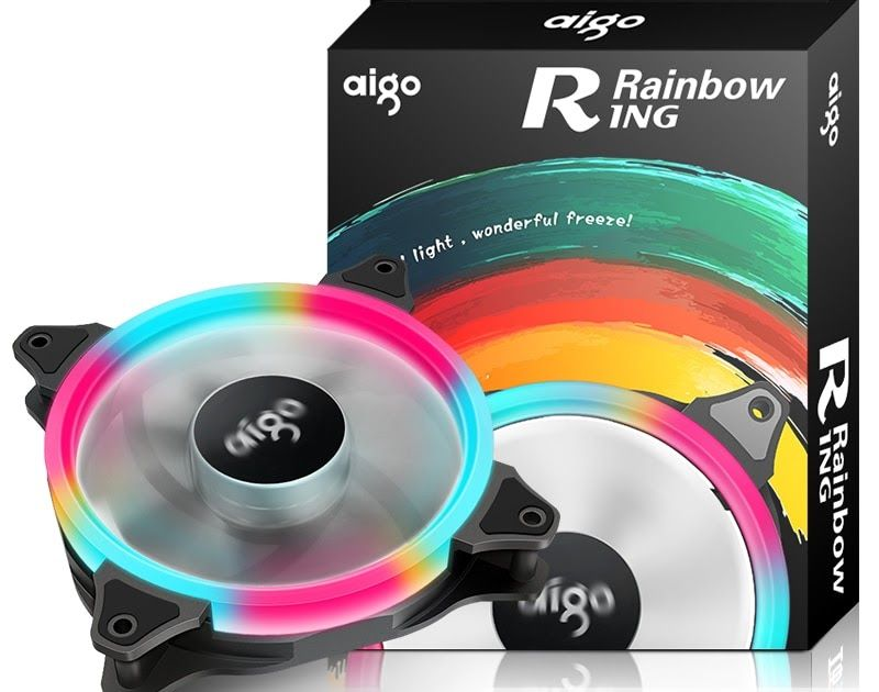 Buy Online Aigo 120mm 140mm Aurora Ring Rainbow Fan Computer Pc