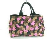 Photo of (Ad)eBay – Auth PRADA Canapa BN2020 Brown Pink Multi Canvas Tote Bag  (Ad)eBay -…