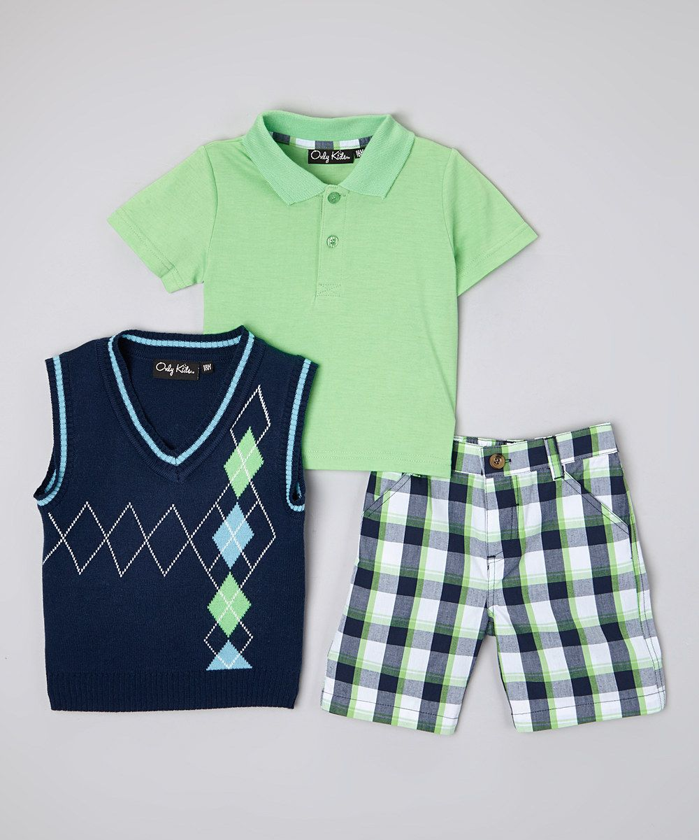 Only Kids Navy & Green Argyle Sweater Vest Set - Infant & Toddler ...