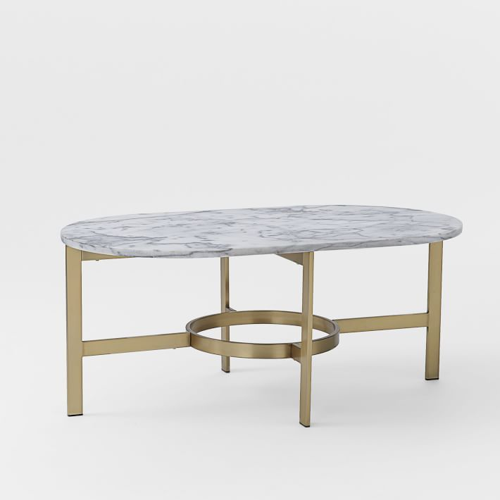 Marble Oval Coffee Table With Antique Brass Base // West Elm