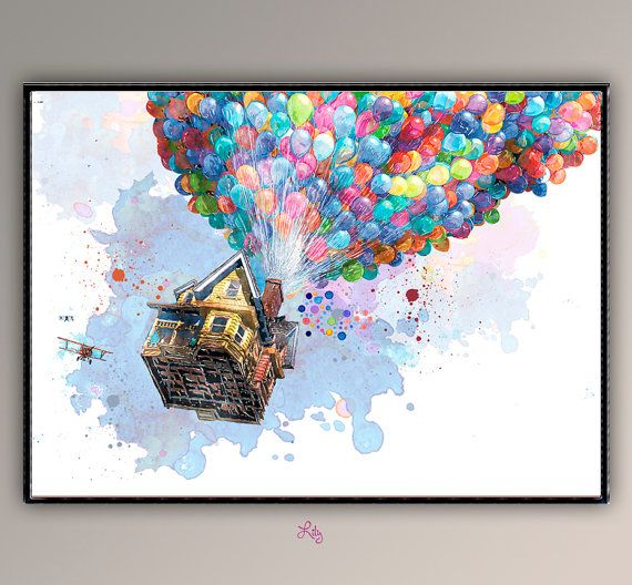 El Cine Volando Habitacion Pared Decoracion Movie Poster A719 De Ninos Guarderia Acuarela Poster Aqui Encontrara Mi Rico Archivo D Painting Watercolor Art Art