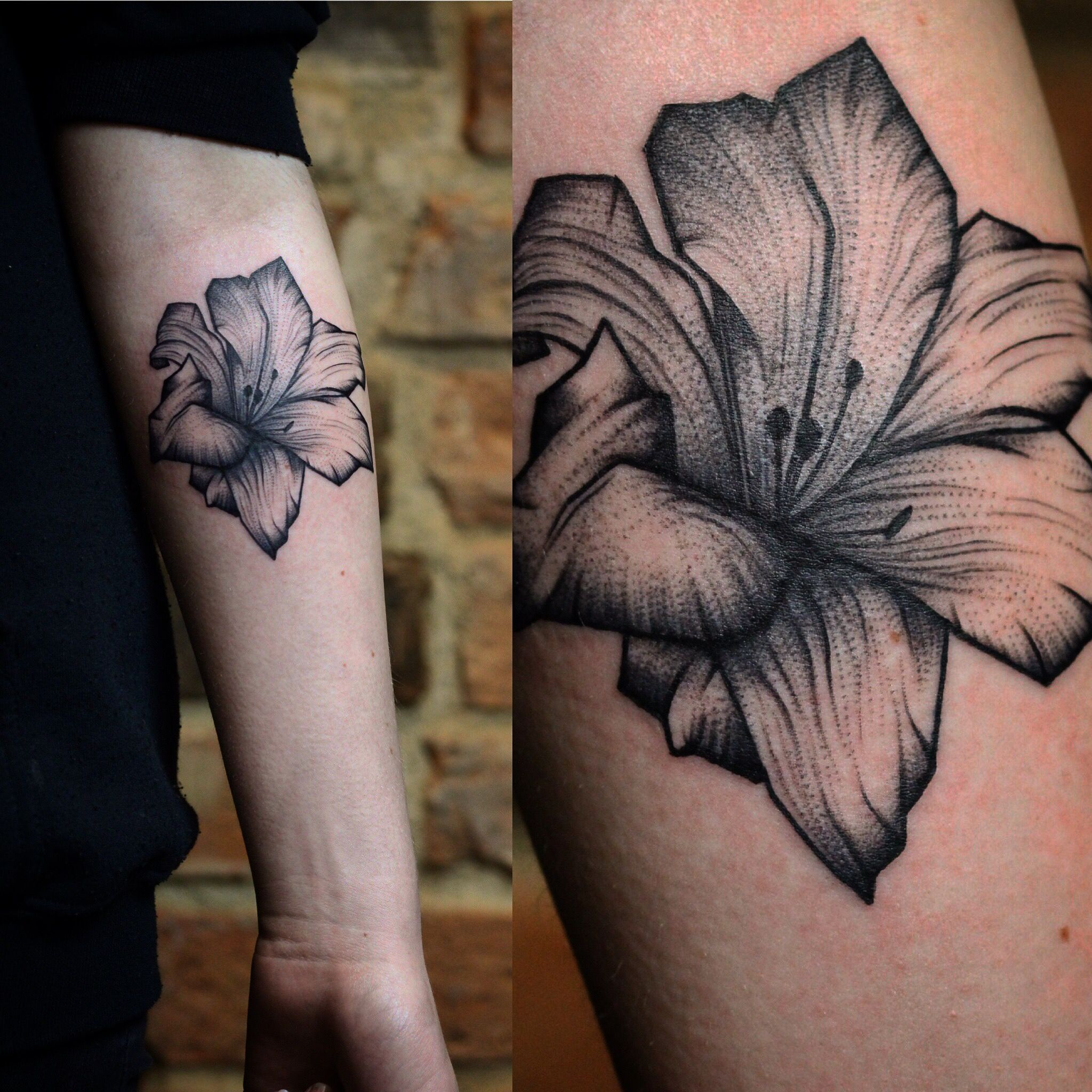 Delicate Water Lily Tattoo Flowertattoo Delicatetattoo Dotwork
