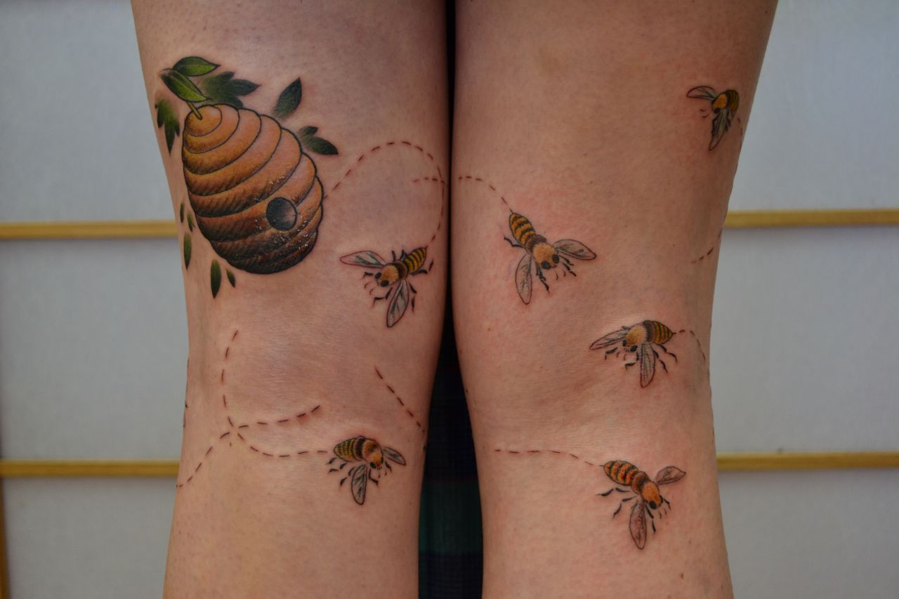 These are kinda what I want for my bees. In between super cartoony and super realistic. On my upper arm, maybe with some kind of background.