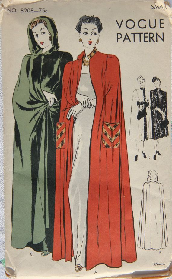 1940s Vogue 8208 Vintage Sewing Pattern Misses Cape For Day Or