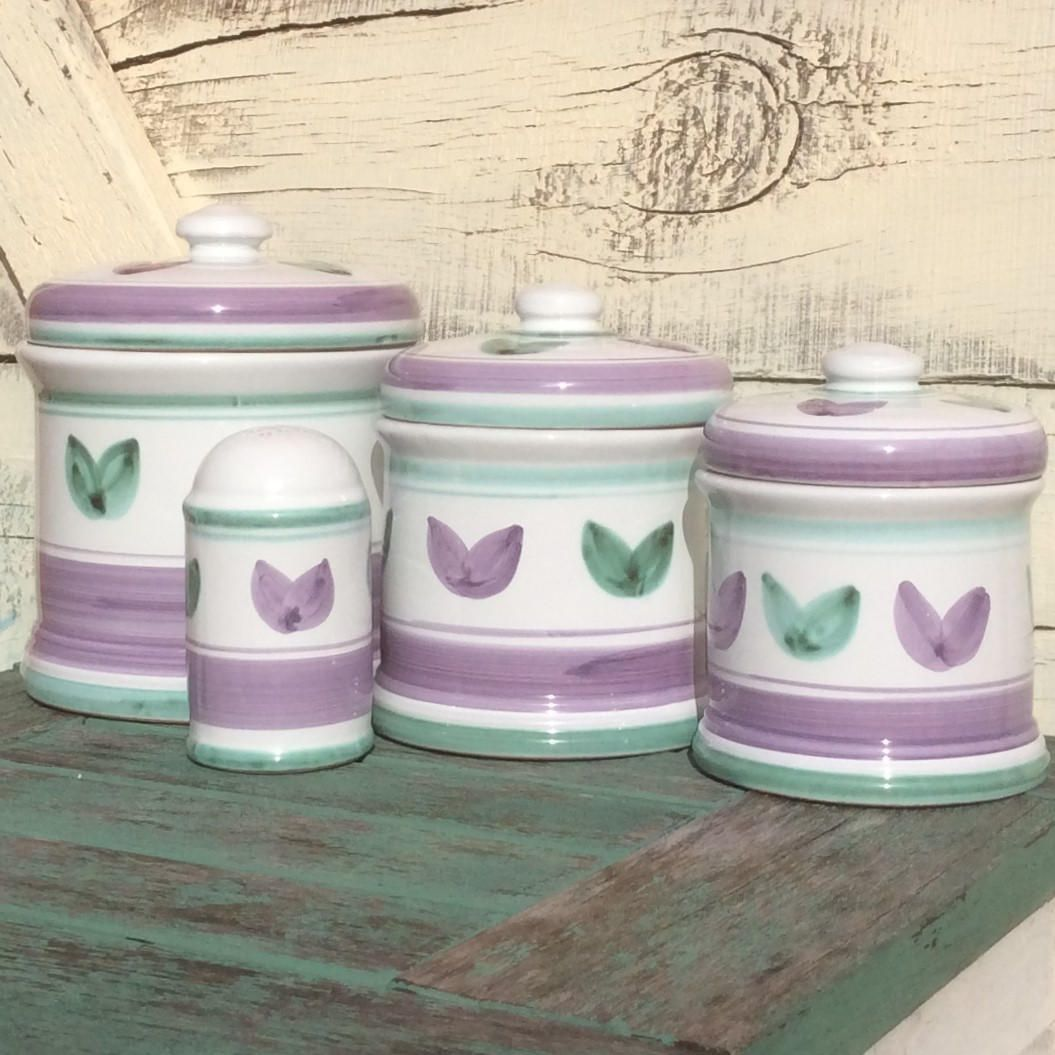 040dbea57574 Rare Hand Painted Italian Caleca Canister Set & Salt / Pepper Shaker |  Tania Pattern Purple Lavender Green White | 3 Canisters Jars Jar Sets by  ZarietyStore ...
