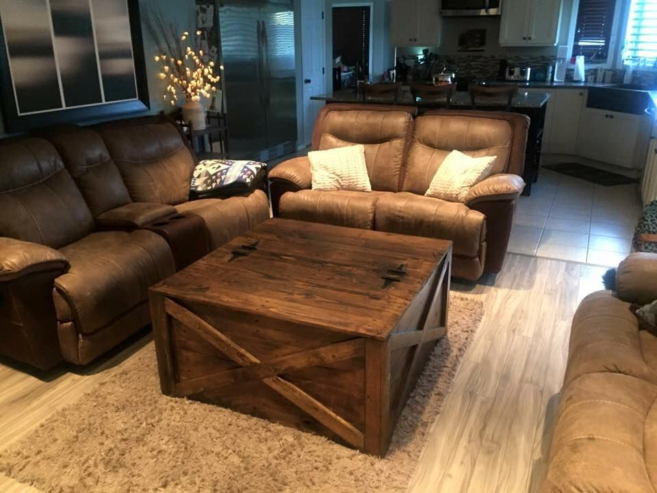 Vintage Wood Pallet Coffee Table Leather Living Room Furniture