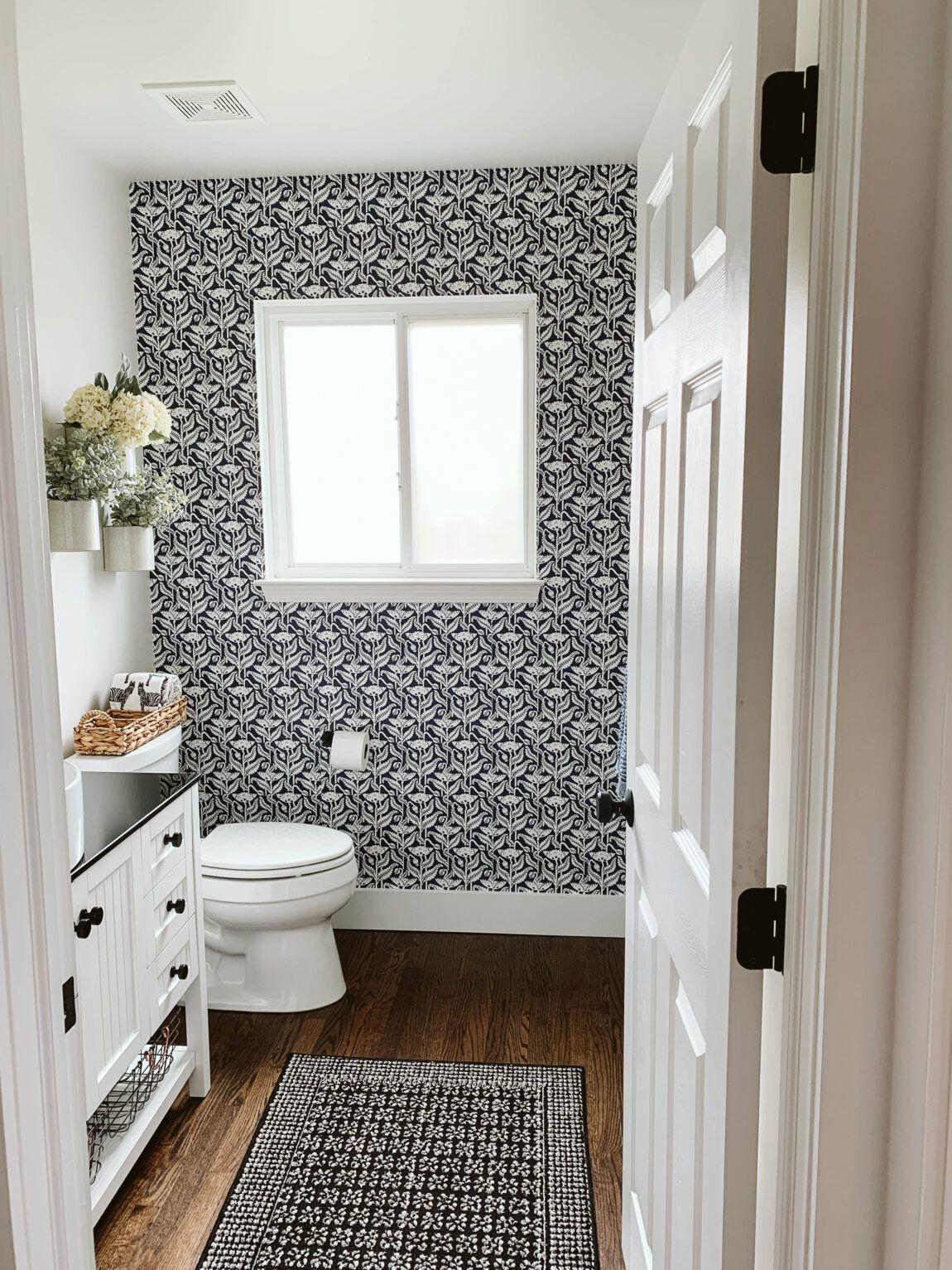 Modern Farmhouse Renovation Clark Aldine In 2020 Wallpaper Accent Wall Bathroom Powder Room Wallpaper Modern Farmhouse Bathroom