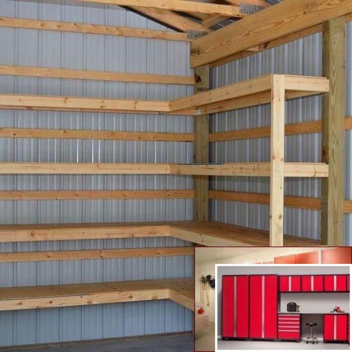 Diy Corner Shelves For Garage Or Pole Barn Storage: Wall Mounted Garage Cabinets Diy And Garage Storage