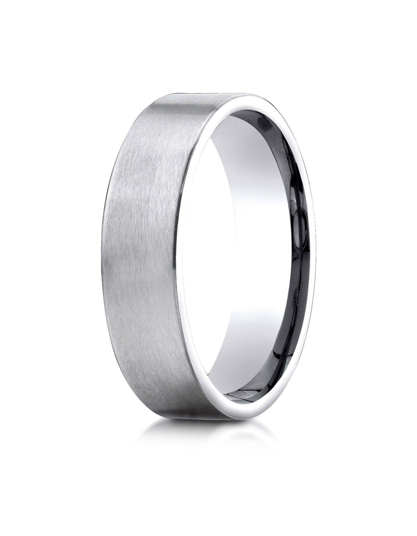 14kt white gold flat comfort fit wedding ring 6mm satin