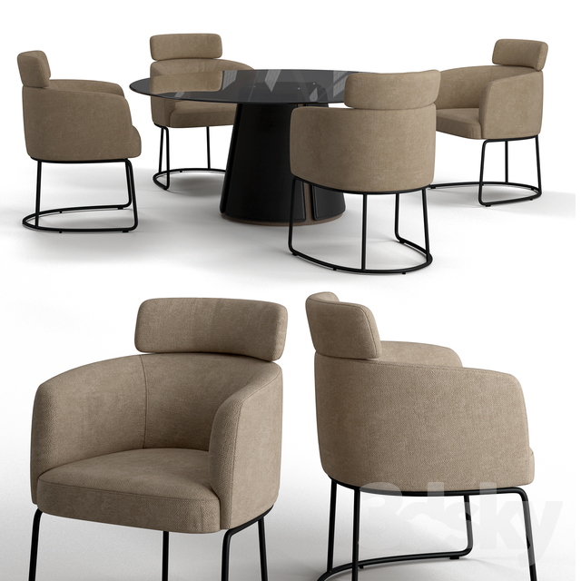 3d Models Table Chair Ditre Italia Claire Table And Chairs