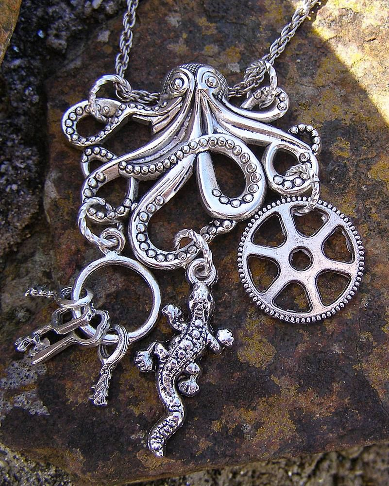 Octopus charm necklace, Steampunk style