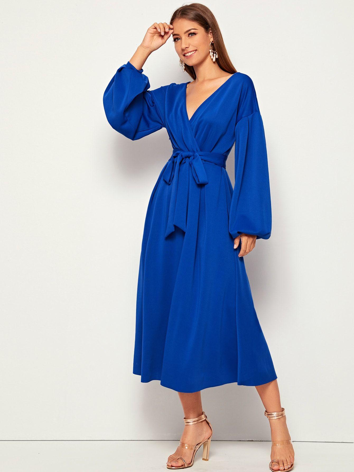 Ad Lantern Sleeve Surplice Wrap Belted Dress Tags Elegant Blue Bright Plain V Neck Long A Line Wrap Belted P Belted Wrap Dress Belted Dress Dresses [ 1785 x 1340 Pixel ]