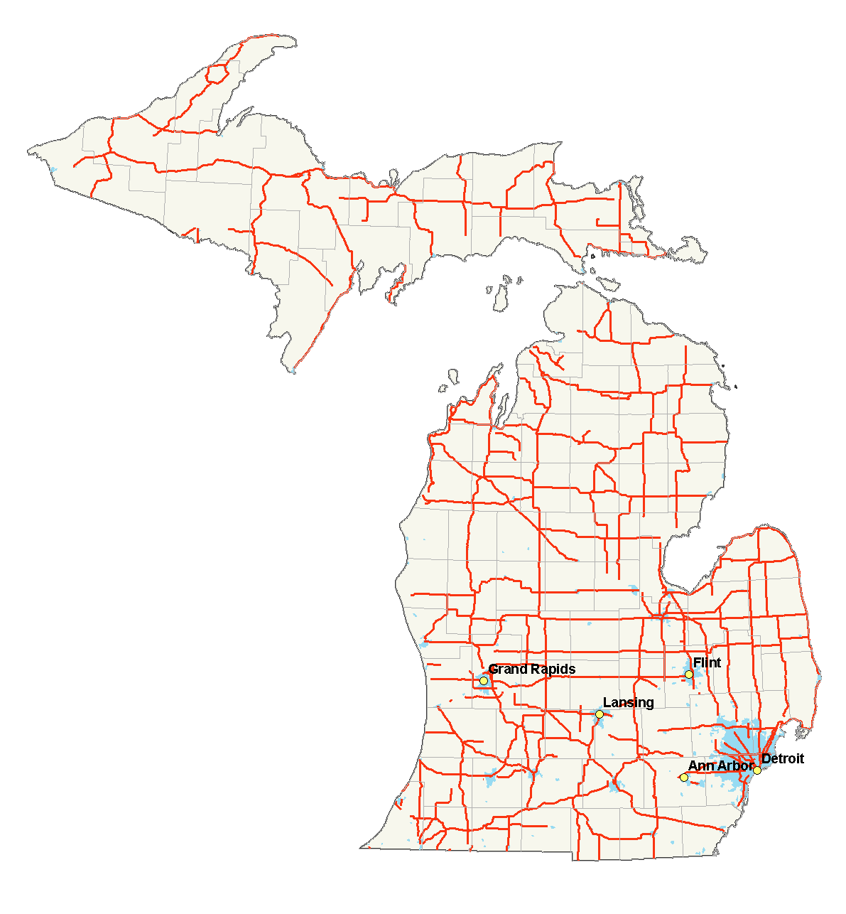 Michigan Highways Map