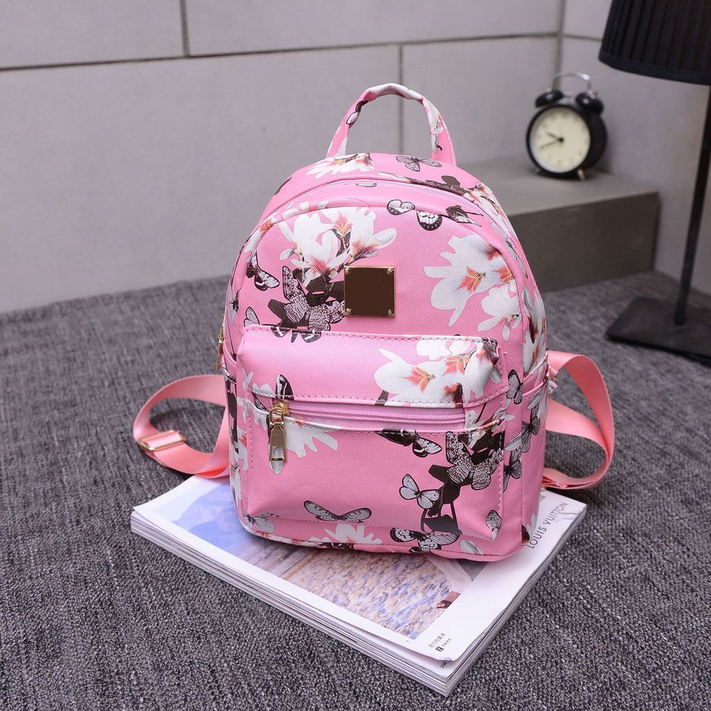 Floral Mini Backpack Black White Pink Ladies Tas Ransel Wanita Darla Travel Leather Handbag Rucksack Shoulder School Bag