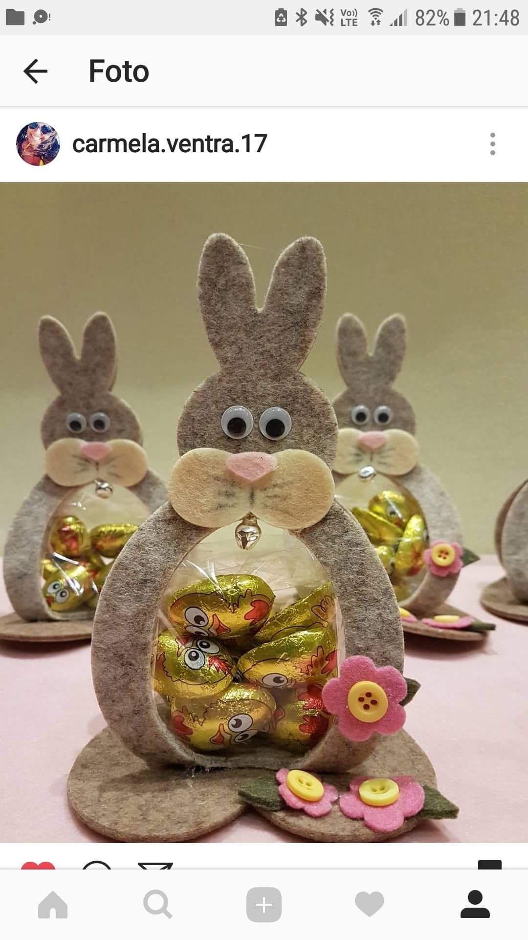 Coniglio di feltro porta cioccolatini
