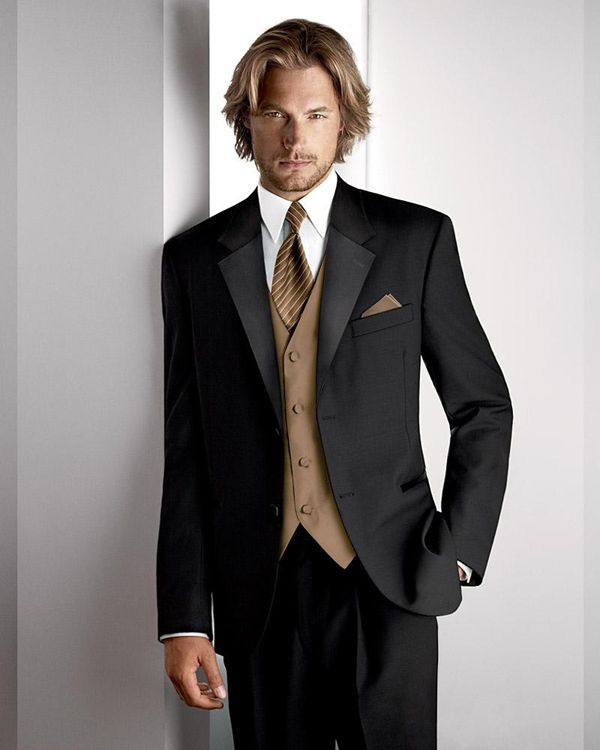 Men's tuxedo suits with a touch of brown. Adding color is always