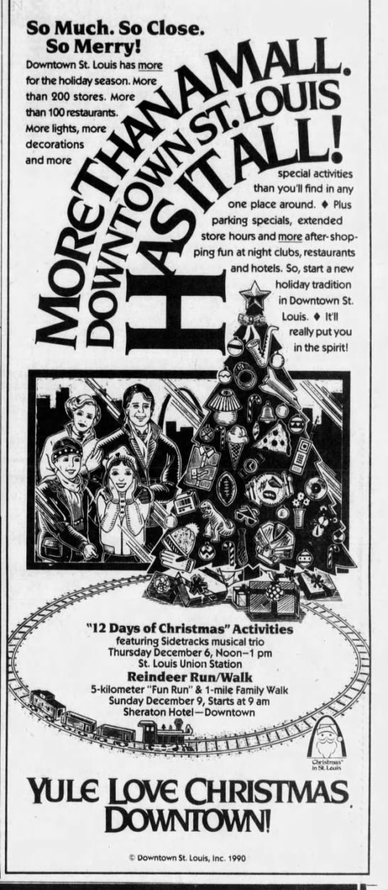 Downtown STL Christmas, 1990 in 2020   Stl, Downtown, Newspaper