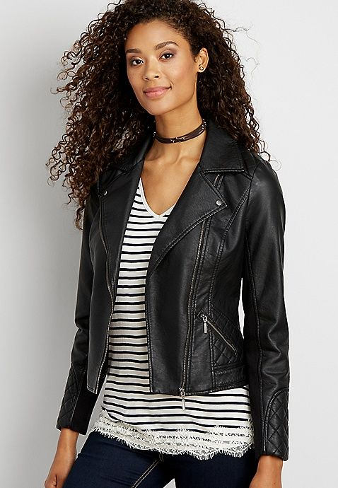 40c1e5c2d44 Moto jacket with quilted stitching
