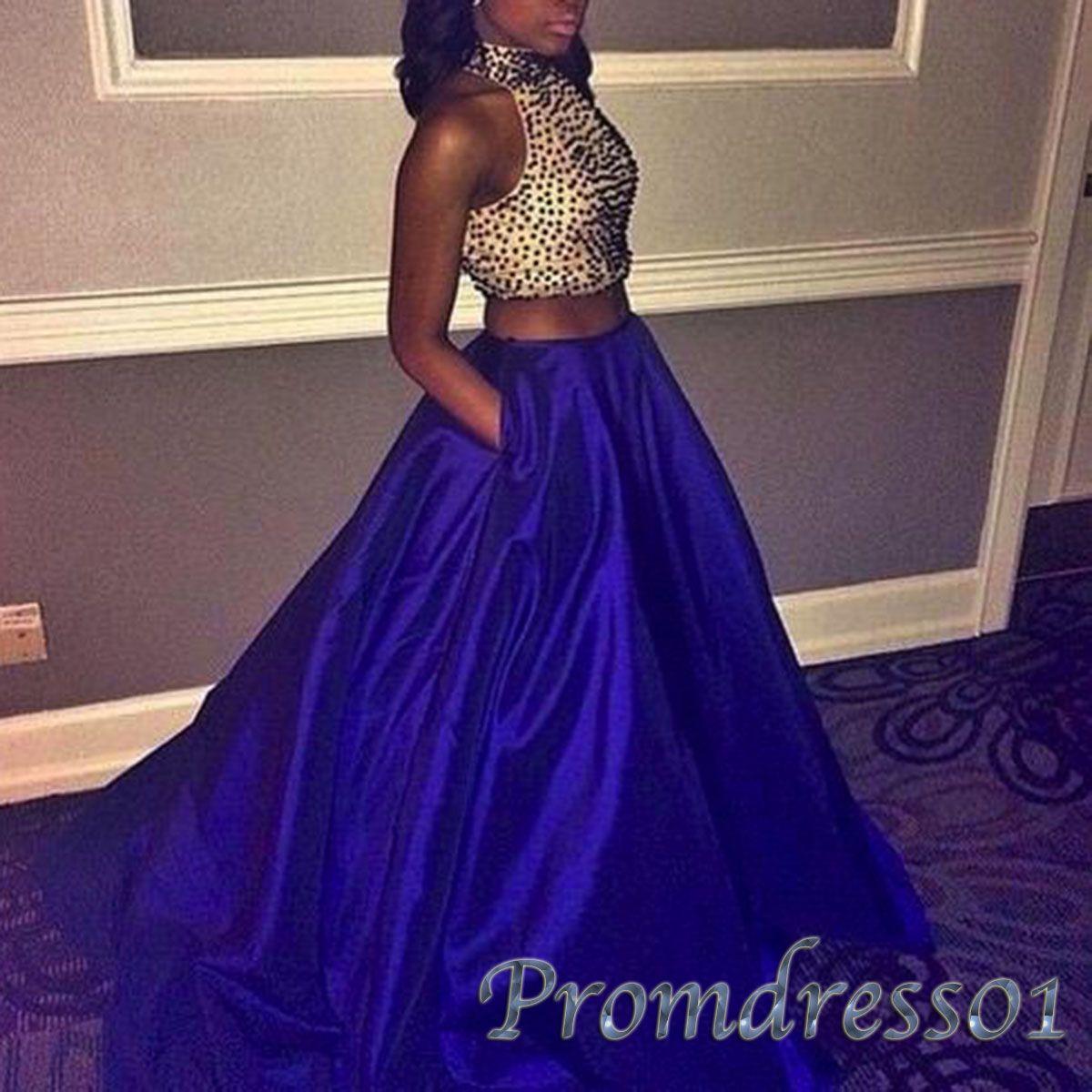 Unique navy blue satin two pieces senior prom gown pieces