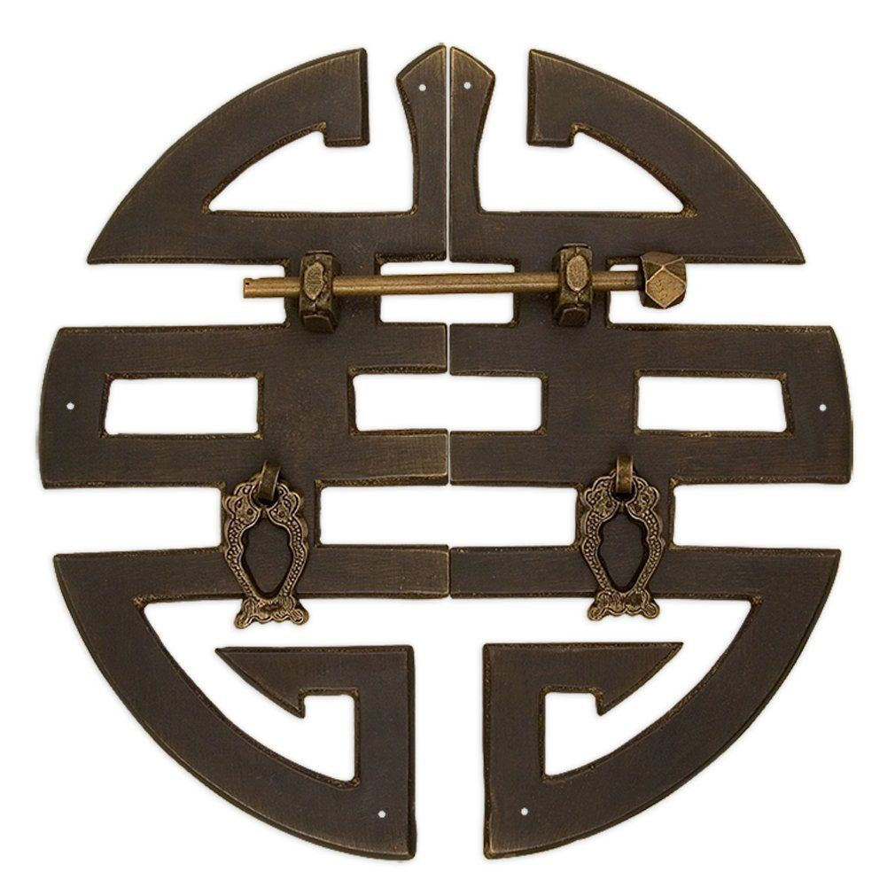 Chinese Brass Hardware ''Happiness'' Character Cabinet Face Plate ...