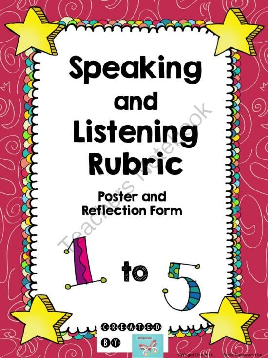 Speaking and Listening Poster and Rubric from WingedOne on - student self assessment