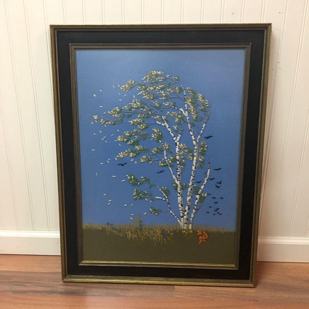 Birch tree crewel embroidery framed landscape s
