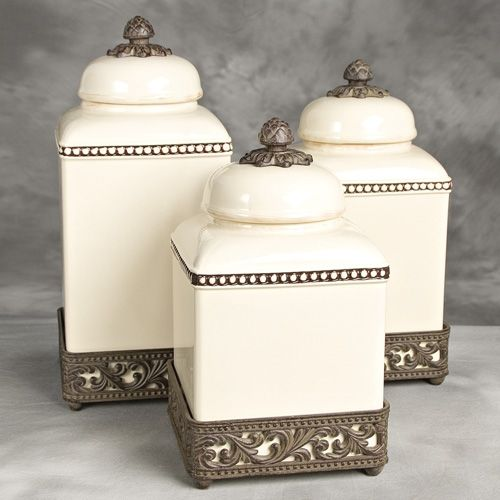 Original Acanthus Leaf Cream Canister Set W Metal Base Gg Collection 191 25