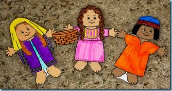 Ruth Daddy read the kids the story of Ruth from the Bible this past week. I wrapped up the story of Ruth by using a few paper dolls I made from www.MakingFriends.com. I made a doll for Naomi, Ruth and Boaz…to illustrate the story as I read it to the boys from our Anytime Bible. …
