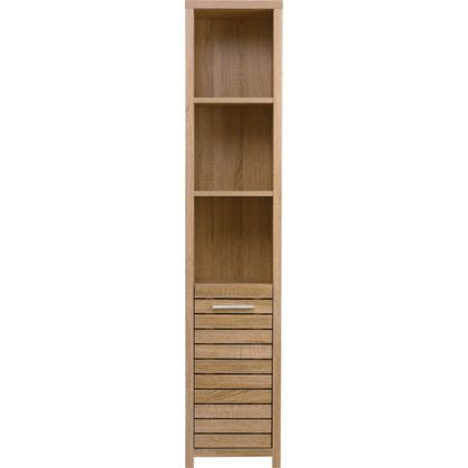 Skydale Tall Boy Bathroom Cabinet   Slatted Wood Grain